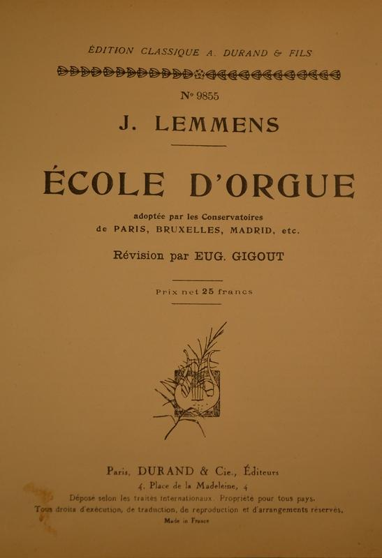 ORGAN METHOD L'ECOLE D'ORGUE BY LEMMENS, More Informations...