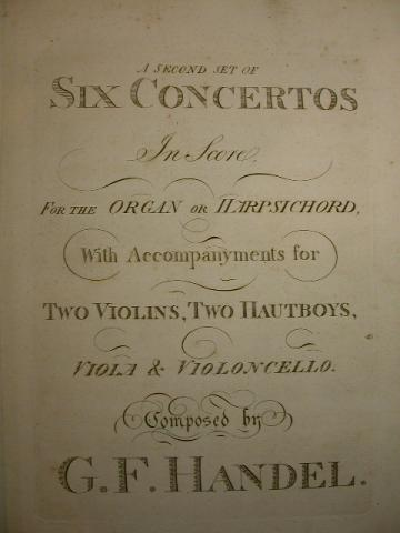 SIX CONCERTOS for ORGAN BY HANDEL , More Informations...