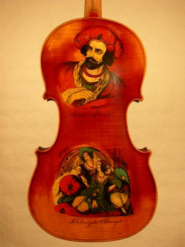 PAINTED VIOLIN  BY VICTOR CARNY IN MIRECOURT, More Informations...
